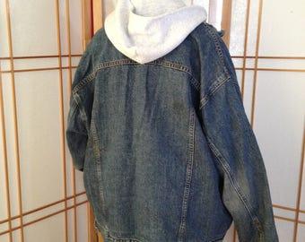 Vintage Jean Jacket Men's BIG Authentic Levi Strauss Denim Jacket BIG! 2XL Blue Jean Jacket Men's Real Big Distress Jean Jacket