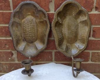 Hammered Brass Wall Sconce Vintage Brass Sconce Primitive Sconce Porch Decor Candle Sconce