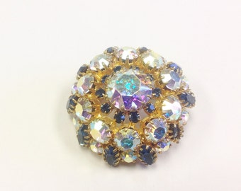 Vintage, mid century, 1950s to 1960s, Aurora Borealis and blue paste brooch.