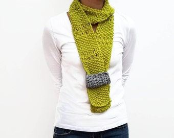 Lime Green Skinny Scarf, Lace Scarf, Summer Scarf, Lime Green Lace Fabric, Gift For Her, Spring Gift, Spring Scarf, Light Green, Light Scarf