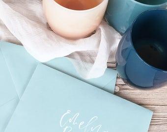 Wedding Envelope Calligraphy, Wedding Calligraphy, Wedding Envelope, Hand lettered Envelope, Hand Lettering, Custom Envelopes, Envelopes