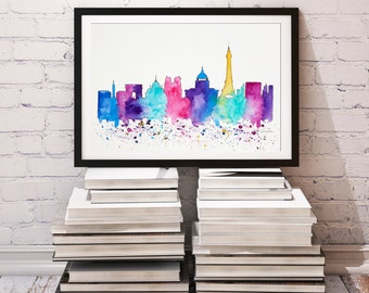 Original Paris Skyline Watercolor painting Travel Illustration, Architecture Illustrator Print, Wall art Home Decor, Handmade Holiday gift