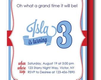 Seersucker Birthday Invitation, Seersucker Baby Shower Invitation, (Custom Seersucker, Southern Birthday Party, Blue and Red Seersucker)