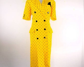 Vintage sheath dress / 50s style dress / double breasted button up dress / yellow dress / polka dot / pencil dress / shoulder pads / pinup