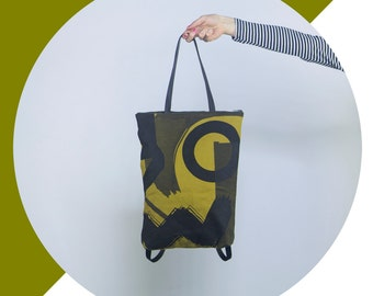 Minimal backpack tote bag with print in Greenyellow and Black with pattern screenprint cotton design simple handmade functional