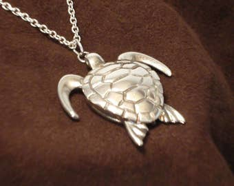 """Sea Turtle Pendant - Sterling Silver Pendant on 18"""" Sterling Silver Chain - Item: ST"""