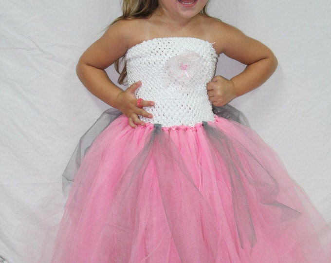 Pink floor length tutu dress, Princess tutu dress, Flower girl dress, Pink and silver tutu dress, Girls tutu dress, Toddler tutu dress