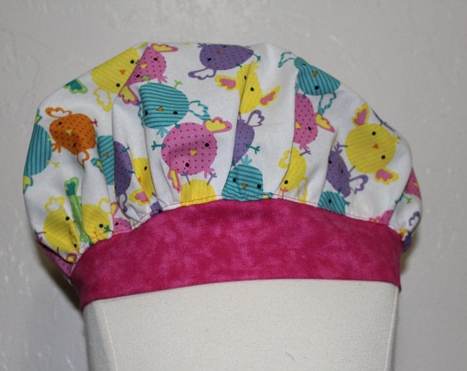 Easter Scrub cap, Ladies Scrub hat, Nurses scrub cap, Women's scrub hat, Woman surgical scrub cap