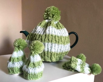Striped Green Tea Cosy and Egg Cosy Set | Hand Knit in Lime and White Wool