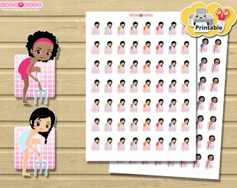 Chic Hair Removal Depilation Printable Planner Stickers set for use in your filofax, Happy planner, etc Print and Cut stickers.