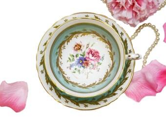 Vintage Paragon Teacup Pastel Blue Floral, English Bone China, Pink Blue Floral Ornate Tea Cup, Vintage Tea Party, Anniversary Gift