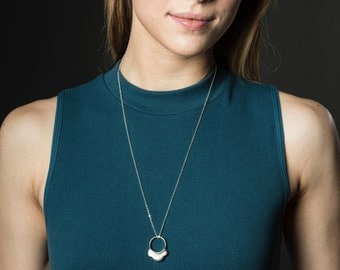 Geometric Statement Ring Necklace, Scalloped Necklace Geometric, 2 in 1 Jewelry, Necklace and Ring Sterling Silver