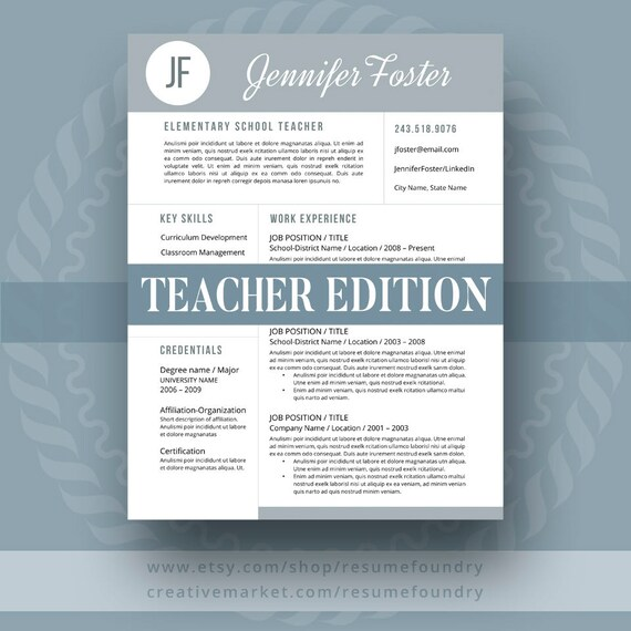 teacher resume template the jennifer