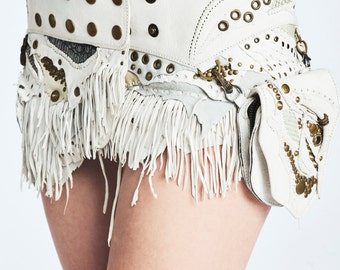 The Mayra Tribal leather fringe skirt with Pouch- white