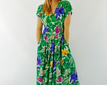 80s Green Floral Rayon Dress - Size Medium