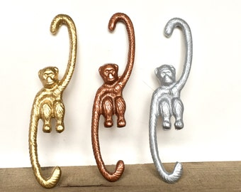 Monkey Plant Hanger - Pot Rack Hooks - Cast Iron Hooks - Barrel of Monkeys - Pot Hooks - Metal Plant Hanger - Monkey Decor - Patio Decor