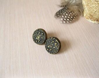 Black gold earrings Womens gift|for|her Black stud earrings Black gold studs Dainty studs Gold black earrings Round studs Everyday earrings