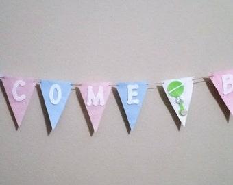 Welcome Baby Banner, Baby Shower Decoration, Baby Garland, Birth Announcement, Baby Gift