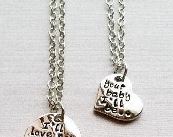 I will Love You Forever Necklace, Your Baby I'll be Pendant, Mother Daughter Jewelry, Quote Necklace, Inspirational Necklace, Gift For Her