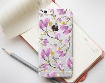 Purple Flowers Phone 7 Case iPhone7 Plus Phone Case iPhone 6 Floral 6s Phone Case iPhone 6s Plus Phone Clear Case iPhone 6 Plus Cover PC_088