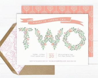 Birthday Invitation for girls | Girl Birthday Invitation | 2nd Birthday Invitation | Digital Invitations | Floral Invitation