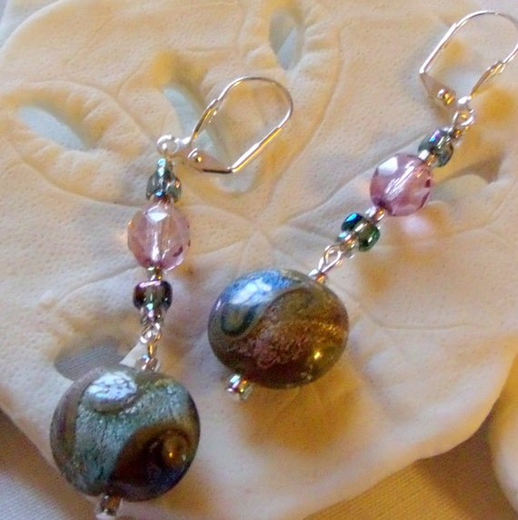 1 3/4 inch long mauve - blue  swirl foil lamp work bead earrings, round disk jewelry , wave beads, crystal earrings, Lizporiginals