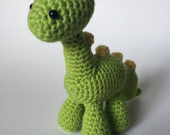 Green Brontosaurus, Crochet Dinosaur, Amigurumi Dinosaur, Dinosaur Plush, Brontosaurus Plush, Handmade Stuffed Animal, Desk Buddy