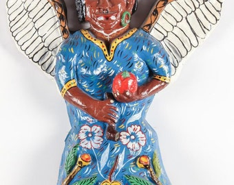 "Haitian Art Papier Mache Sculpture of a Winged Vampire ""Loogaroo"" by Yves Baptiste"