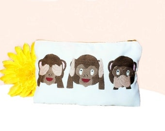 Embroidered Pouch Three Monkeys Emoji,Three Monkeys Emoji Makeup Bag Gift Idea,Gift for her,Toiletry Bag,Emoji Pouch
