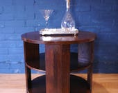 Art Deco Oak Three Tier Circular Occasional Table  Ideal drinks bar on industrial castors   1920s (Shipping is extra)