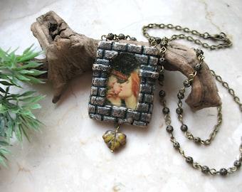 Soul of the Rose pendant, Pictorial Necklace, Shrine to Pre Raphaelite Art
