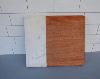 Mahogany and marble cheese plater