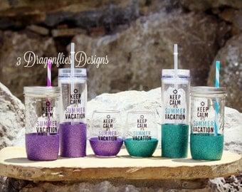 Keep Calm it's Summer Vacation, Beach Gift, Teacher Cup, Sparkle Water Cup, Glitter Acrylic Tumbler, Glitter