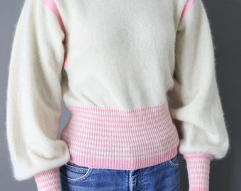 70s MATCH II ivory pink wool sweater