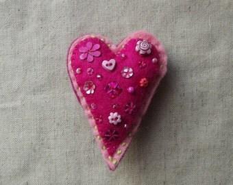 Heart Fridge Magnet – Handmade, Pink, Love, Made To Order