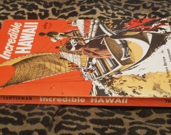 Incredible Hawaii by Terence Barrow ** 1974 vtg illustrated paperback facts about Hawaii