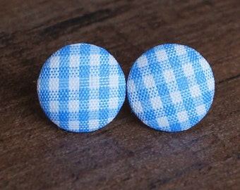 Blue Gingham Fabric Button Stud Retro Earrings