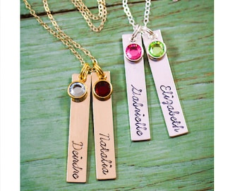 Silver Tag Necklace • Silver Name Tag Long Tag • Custom Children Name Stamped Name Necklace • Birthstone Necklace Rose Gold Tag