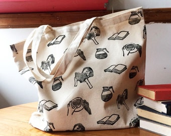 Tote bag ' books and coffee '