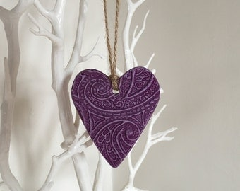 Purple Hanging Heart - heart wall hanging, handmade heart, heart decoration, ceramic heart, heart accent, wedding decor, colourful heart