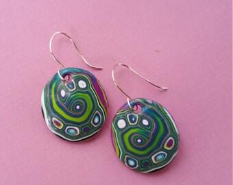Boho Earrings, Large, Green, Purple, Blue Swirls and Dots