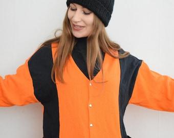 Bomber jacket, orange bomber jacket , orange sweater, jock jacket, 1980s jacket, sports jacket,