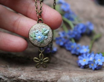 Forget me not necklace.Embroidered necklace.Blue Flower pendant. Forget me nots. Embroidery Jewelry. Friendship pendant. Gift for girlfriend