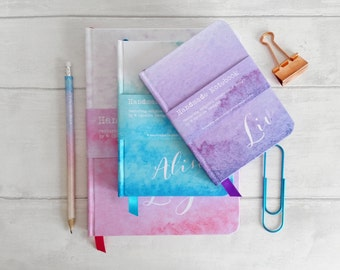 Small hand made notebook / sketch book, in my watercolour wash designs, 7 shades to choose from, personalised with any text - plain pages