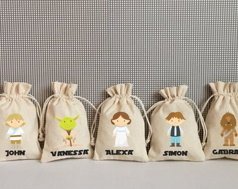 Personalized Star Wars Goodie Bag Party Supply- Party Favor Drawstring Bag Pouch. Darth Vader, R2-D2, Leia, Han Solo, Yoda, C-3PO, BB-8