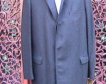 40 R ca 60s Black Herringbone Overcoat MLWC009