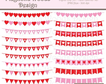 Heart Banners Clip Art, Valentine's Day Clip Art, Heart Clip Art, Heart Banner PNG, Digital Valentine's Day Image, Small Commercial Clip Art