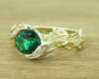 Leaves Engagement Ring, Emerald Engagement Ring, Nature Ring, Yellow Gold Floral Ring, Vine Ring Anniversary Ring Gift For Wife Promise Ring