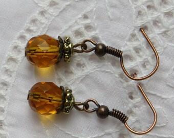 Amber Drop Earrings, Vintage Drop Earrings, Antique Drop Earrings, Amber Earrings, Amber Bead Earrings, Rustic Earrings, White Elephant Gift