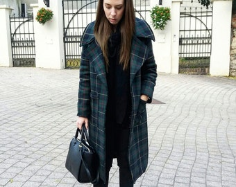 Women's Coat/Wool Plaid Coat/Woman's Winter Coat/Handmade Wool Coat/Winter Coat/Long Winter Coat/Plaid Coat/Tartan Coat/